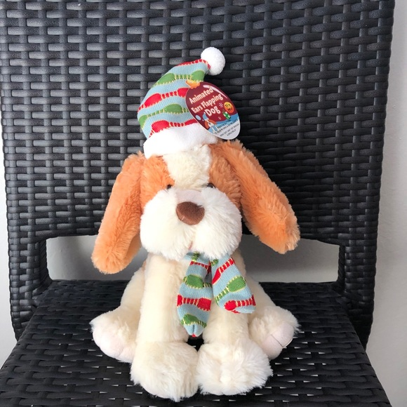 singing holiday dog plush stuffed animal toy